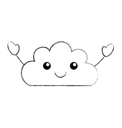 Beautiful fantasy cloud kawaii character vector