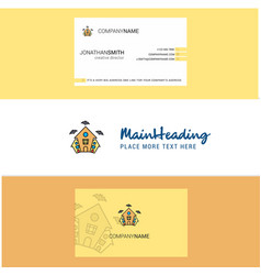 beautiful hunted house logo and business card vector image