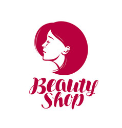 beauty shop logo or label makeup cosmetic spa vector image