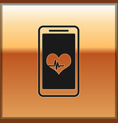 Black smartphone with heart rate monitor function vector