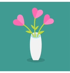 Bouquet of pink heart flowers in a vase Flat vector