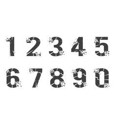 breaking cracked pieces digits numbers set design vector image