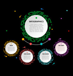 bright circle infographic with header on black vector image