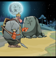 cartoon fairy-tale warrior stands at a pointing vector image