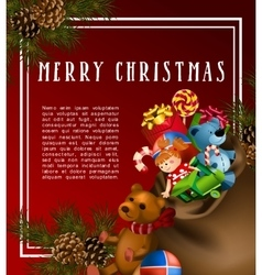 Christmas greeting-card with fir-tree and gifts vector