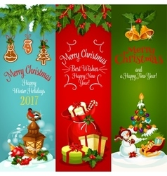 Christmas New Year holidays greeting banner set vector image