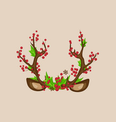 christmas photo prop booth mask deer horns vector image