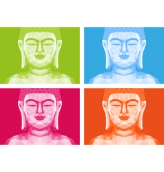 Colorful low poly Buddha faces vector image