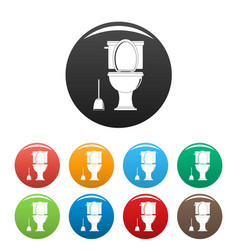 Comfort toilet icons set color vector