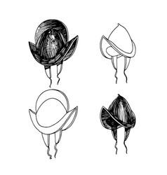 Conquistadors helmet spanish knight black ink vector