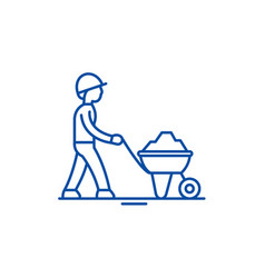 Construction works line icon concept construction vector