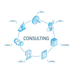 Consulting isometric concept connected line 3d vector