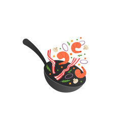 Cooking process flipping fry vector