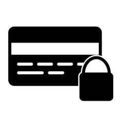 credit card security with lock silhouette icon vector image