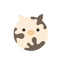 Cute cow round graphic icon vector