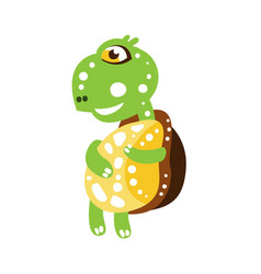 Cute dancing green turtle character side view vector