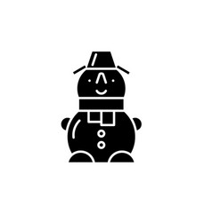 cute snowman black icon sign on isolated vector image