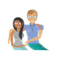 Drawing couple cheerful togetherness vector
