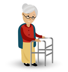 Elderly woman on a walker needs medical care may vector