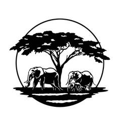 Elephant family savanna africa wildlife vector