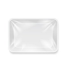 Empty white plastic food container packaging tray vector