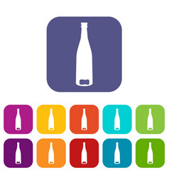 empty wine bottle icons set vector image
