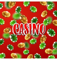 Falling green and gold casino chips vector