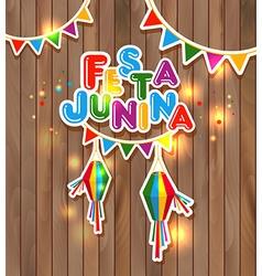 Festa Junina on wooden vector