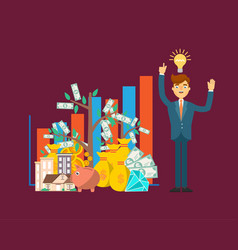 Financial investment concept with businessman vector