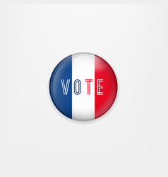 flag of france round icon badge or button french vector image