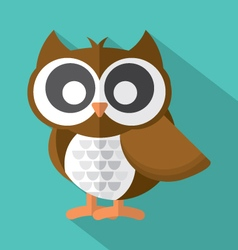 Flat Design Cute Owl Icon On Green Background vector image