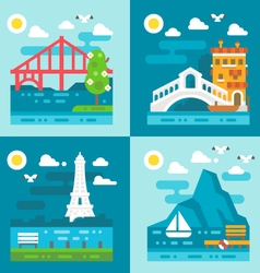 Flat design romantic landmark set vector image