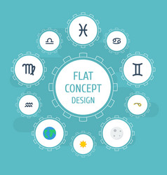 flat icons horoscope fishes twins and other vector image