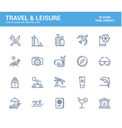 flat line icons design-travel and leisure vector image