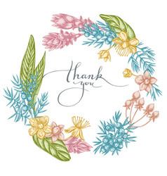 floral wreath pastel juniper hypericum vector image