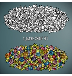flowers group set in different of color vector image