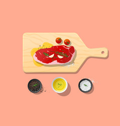 Fresh raw beef strip loin steak and spices vector