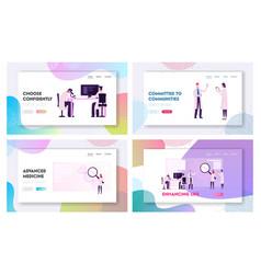 Genetics laboratory website landing page set vector