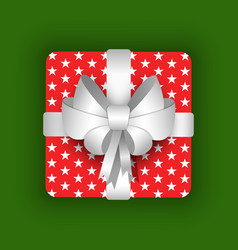 gift box with ribbon and bow christmas vector image