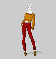 Girl in red jeans and short pullover vector