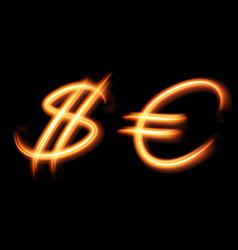 Glowing light symbols dollar and euro hand vector