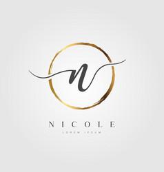 gold elegant initial letter type n vector image