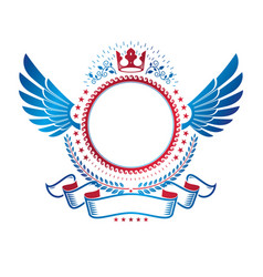 Graphic winged emblem composed with royal crown vector