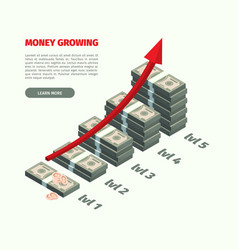 Growth money dollars stack investment vector