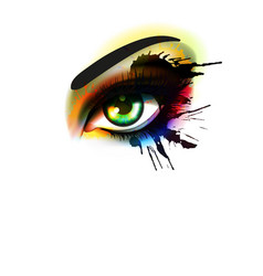 grunge colorful make up eye fashion and beauty vector image