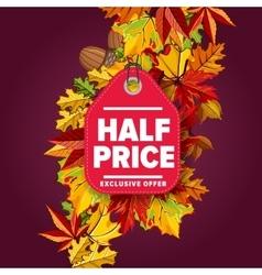 Half price label Exclusive offer vector