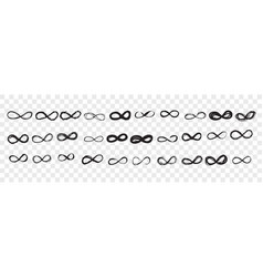 hand drawn infinity sign doodle set vector image