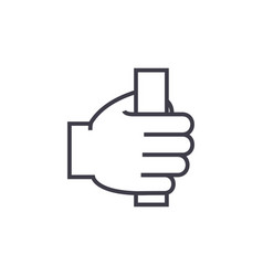 hand holding line icon sign vector image