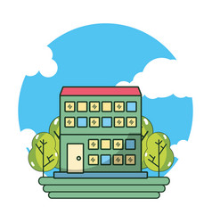hotel building cartoon vector image