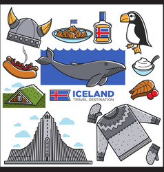 Iceland travel tourism landmarks and reykjavik vector